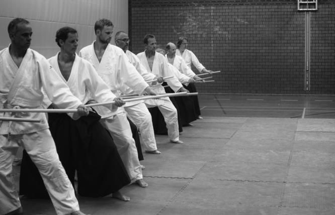 Training met de Japanse vechtstok (jo) in Heerenveen